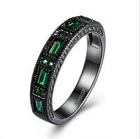 Latest Design Wedding Rinf Band Black Rhodium Plated Jet Hematite AAA Zircon Baguette Green Black Gold