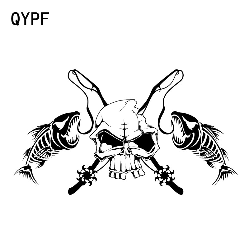 QYPF 19.7*11.1CM Fishing Skull Skeleton Fish Rod Reel Hook Car Sticker Truck Window Vinyl Decal Sticker C16-0017