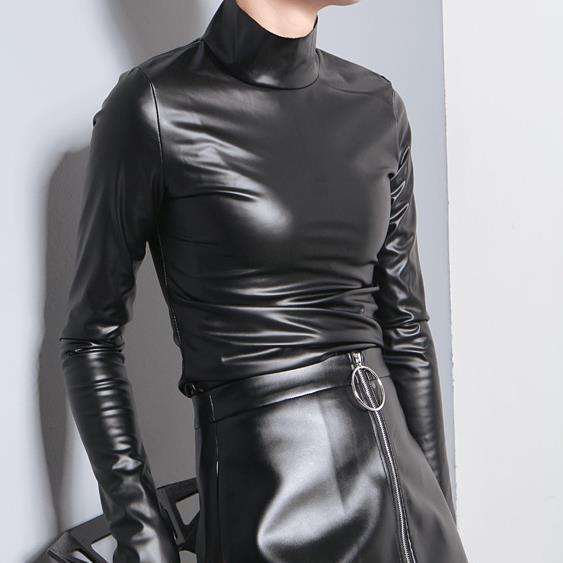 Blusas femininas pu encabeça mulheres camisa turleneck collar
