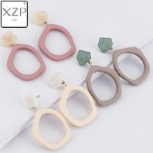 XZP New Korean Japan Simple Irregular Geometric Polygon Hollow Acrylic Matte Resin Acetate Drop Earrings for Women Student Girls