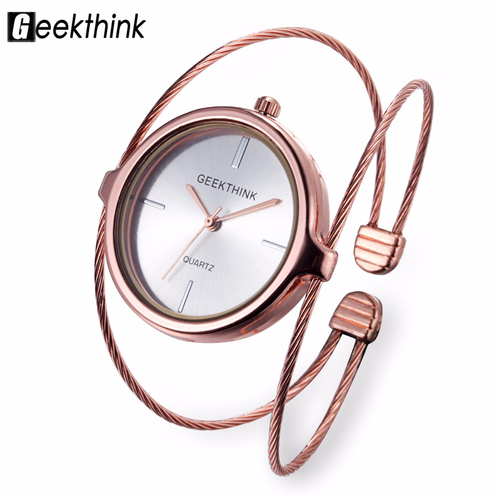 GEEKTHINK Unique Fashion Brand Quartz Watch Kvinnor Armband Ladies Rose Gold Watch Kvinna Luxury Double Ring Steel Band Casual