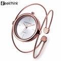 Geekthink única marca de moda relógio de quartzo mulheres pulseira senhoras subiram relógio de ouro banda de aço de luxo feminino anel duplo casuais