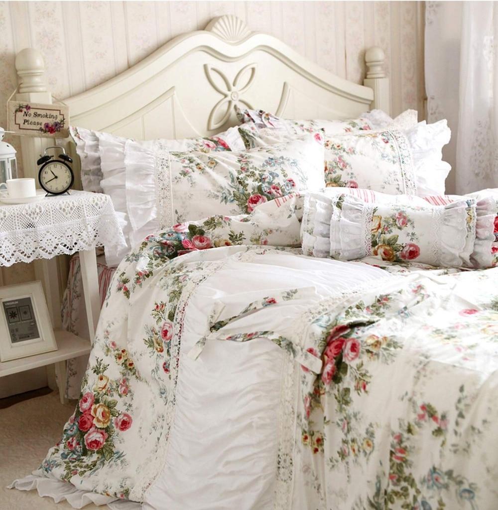 Rustic ruffle lace flower flower single double bedding ...