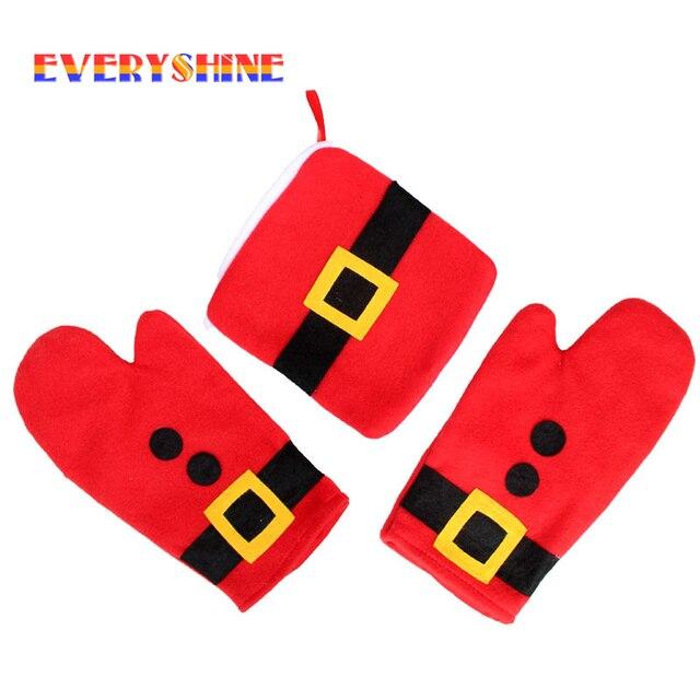 3pcs/set Christmas Decoration Oven Gloves Insulation Christmas Ornament Table Decorations for Home Santa Claus SD121