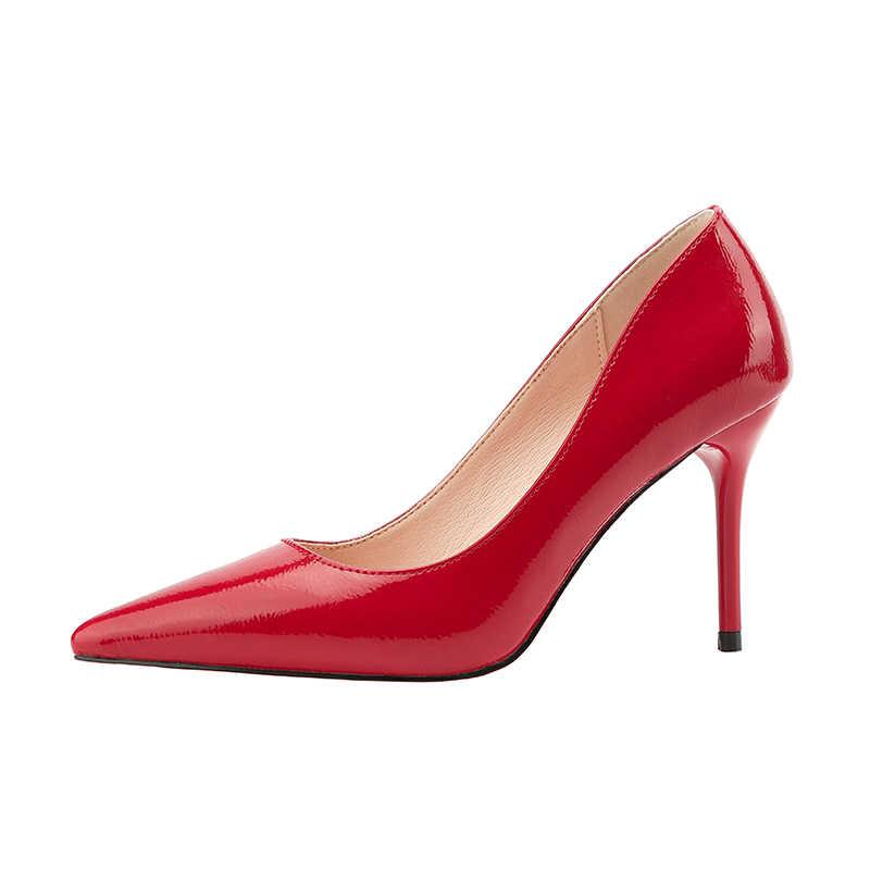 923a15aa387 2019 Women Fetish 9cm High Heels Female Bridal Footwear Stiletto Heels Blue  Nude Leather Pumps Lady Scarpins Elegant Prom Shoes