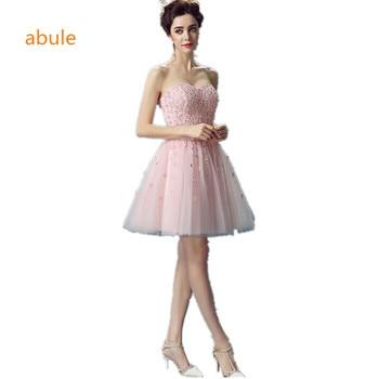 a6af02e88b Abule mujeres cortos Vestidos de Noche 2017 Rosa polvoriento Rosa barato  longitud vestidos de baile de encaje Appliques con perlas vestidos de  fiesta cortos