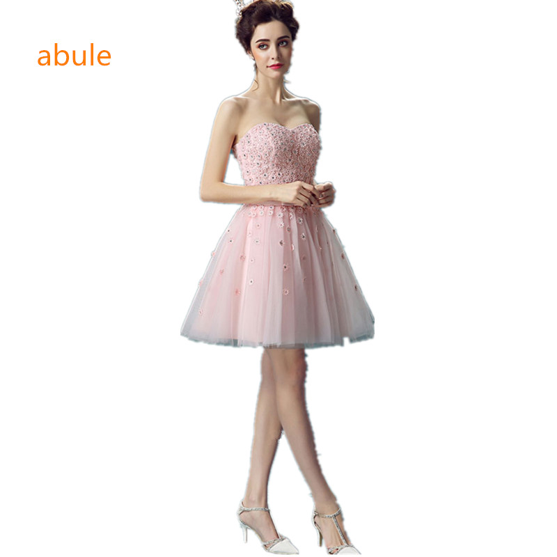abule Women Short Evening Dresses 2017 Dusty Pink Cheap pink Length Prom  Dresses Lace Appliques with Pearls Party ... 55f090dc6892