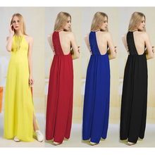 2018 New Women Lady Sleeveless Formal Long Dress Sexy Spring Summer Dress Women Clothing Chiffon Long Dress Tall and Slim Design