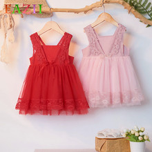 New Arrival Summer Lace Girls Dress Baby Girl V Neck Princess Dress 0-4 Years Children Clothes Kids Party Clothing For Girls