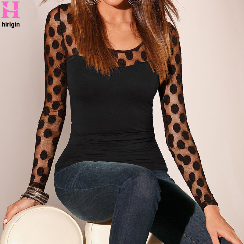 Autumn Winter 2018 NEW Sexy Women's Fashion Long Sleeve Tops Polka Dots Casual Loose Blouse Shirt Tops Clothing Blusas