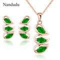 Nandudu Verde Aretes Collar de Cristal Austriaco Sistemas de la Joyería de Oro Rosa Plateado Regalo de la Joyería de Moda Fresca N953