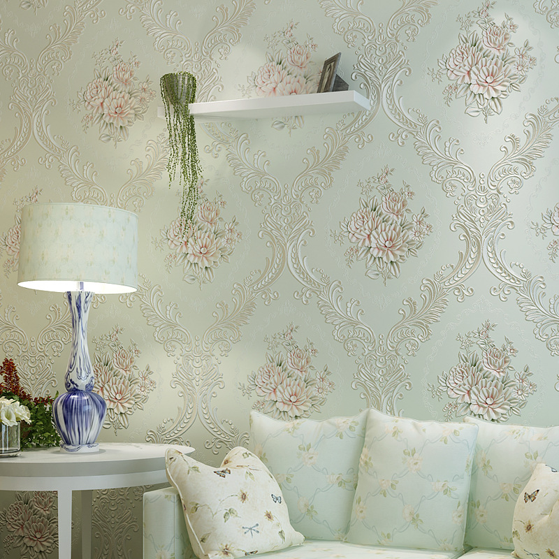 ФОТО European Pastoral 3D large Flower Damask Wall Paper Vintage Classic Modern Feature Wall paper Roll  Bedroom papel de parede