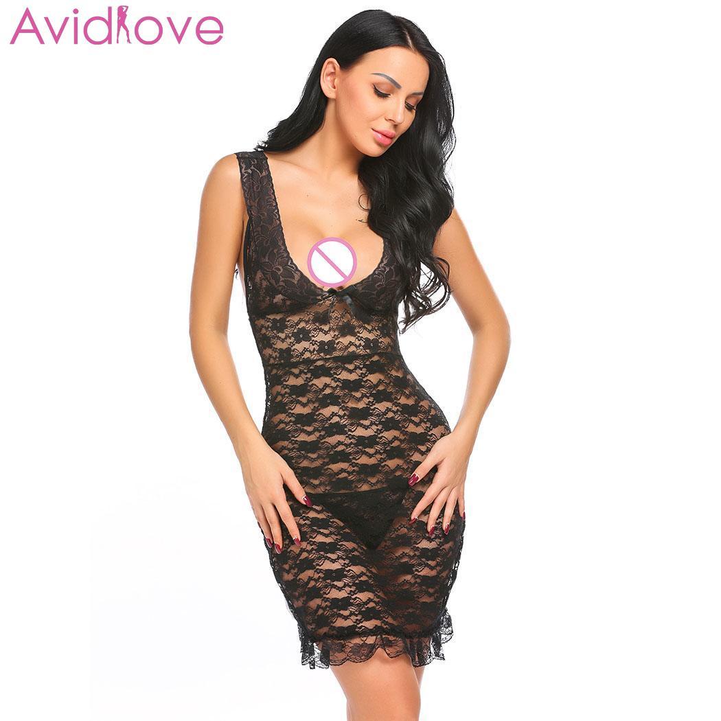 Buy Avidlove Women Sexy Lingerie Underwear Erotic Costumes Sexy Shop Chemise Sleepwear Babydoll Lace V-Neck Floral Set