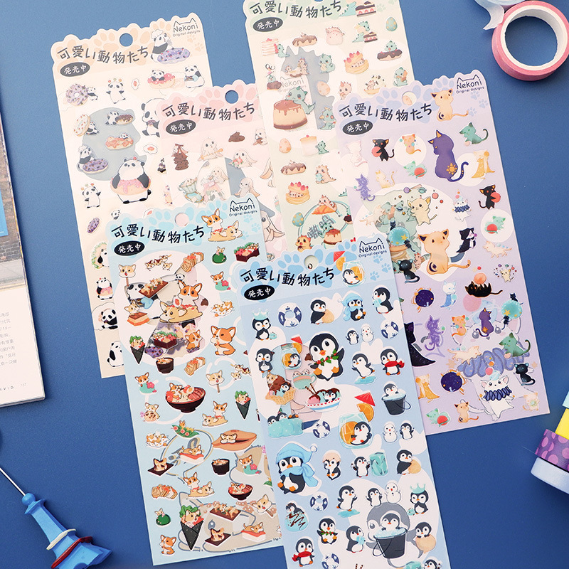 Animal Sticker Panda Dinosaur Rabbit Penguin Shiba Dog Decorative Stationery Stickers Scrapbooking DIY Diary Album Stick Label