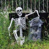 Хэллоуин украшение для дома с привидениями 90 см пластиковый череп для бара Хэллоуин косплей Скелет детский размер для украшения Декор