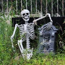 90 ซม.ฮาโลวีนโครงกระดูกตกแต่งHaunted House 90 ซม.พลาสติกSkull Skeletonสำหรับบาร์ฮาโลวีนคอสเพลย์Skeletonเด็ก