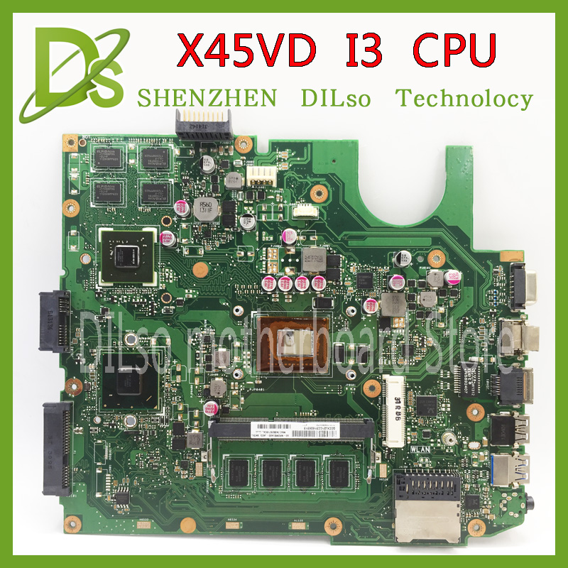 KEFU X45VD For ASUS X45VD laptop motherboard with i3 CPU mainboard 100% tested original motherboard k54hr x54h k54ly laptop motherboard for asus for i3 cpu full tested ok 6 months warranty