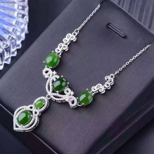 Natural jasper pendants necklaces s925 sterling silver 43cm rolo natural jasper pendants necklaces s925 sterling silver 43cm rolo chain natural green gemstone necklaces fine jewelry aloadofball Image collections