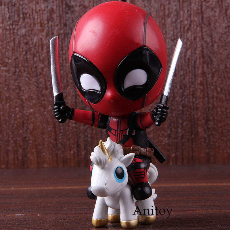 Marvel Deadpool Action Figure Riding Version Bobble Head Collectible Model Toy Gift For Kids