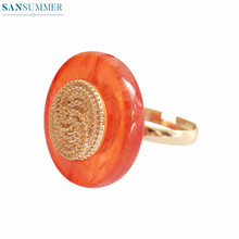 Vintage Women Rings Simple Resin Acrylic Inlaid Metal Round Copper Ring Adjustable For Bague Femme Jewelry Anillos