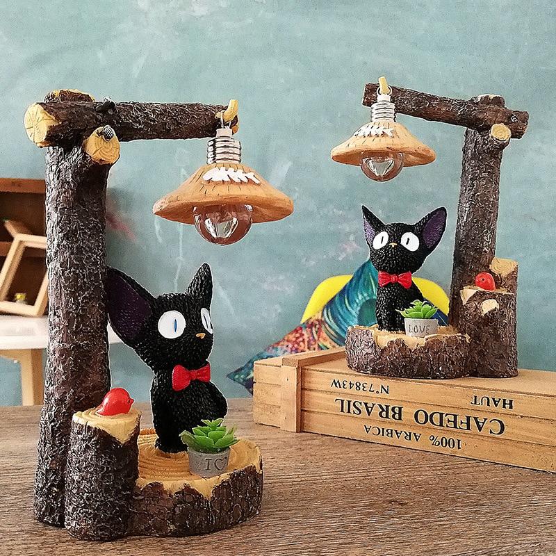 Pryskyřice Pastorální venkovský styl Zvíře Kiki Kočka Světlo Figurka Kawaii Ozdoby Sochařství Domácí dekorace Obývací pokoj Ložnice Dárek