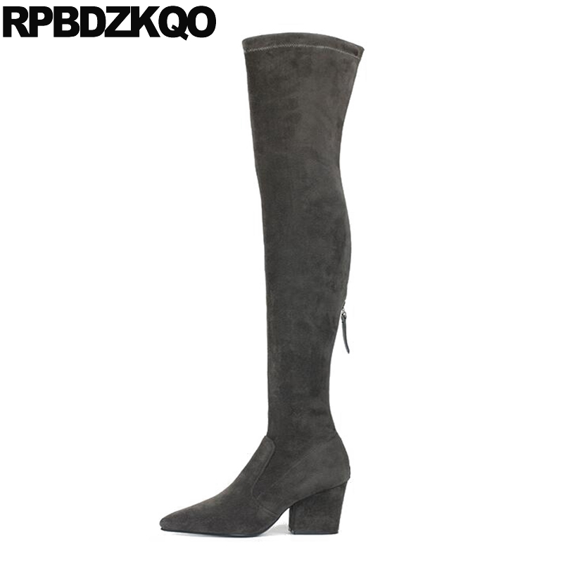 High Heel Sexy Big Size Pointed Toe Brand Winter Lycra Over The Knee Slim Suede Chunky Stretch Shoes Long Gray Thigh Boots For individual red cup heel over the knee boots chunky heel stretch long booties winter thigh high boots