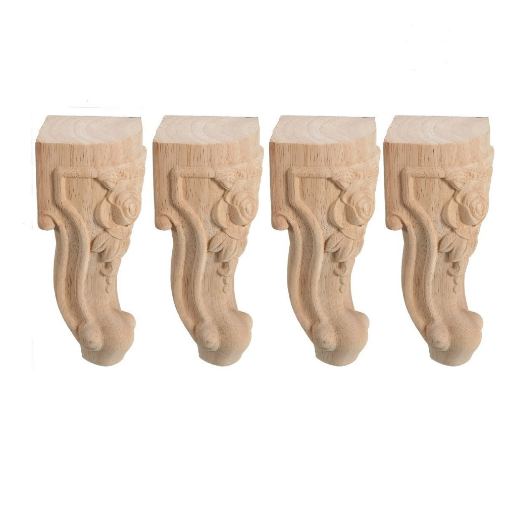 4pcs Solid 18CM Wood Furniture Legs Feet Replacement Sofa Couch Chair Table Cabinet Furniture Carving Furniture Legs