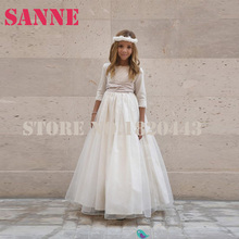 Girls White Dress For First Holy Communion With Pink Sash Girls Pageant Dresses Tulle Floor Length Ball Gown Vestiti Comunione