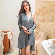 Shetelisi 2019 New Arrivals Women Lace Chiffon Robe & Nightgown Set Sexy Backless and Hollow Out Bathrobe sp0100