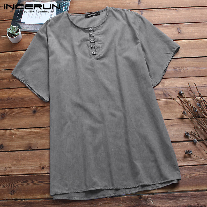 Fashion Retro Men Shirts Dress Half Sleeve Cotton Shirts Casual Tee Button Loose Tops Male Joggers Hombre Camisa Men Clothing