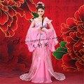Tradicional chinesa Mulheres Vestido Hanfu Chinês Vestido De Fada Rosa Roupas Hanfu Dinastia Tang Chinês Antigo Traje vestido da Dança