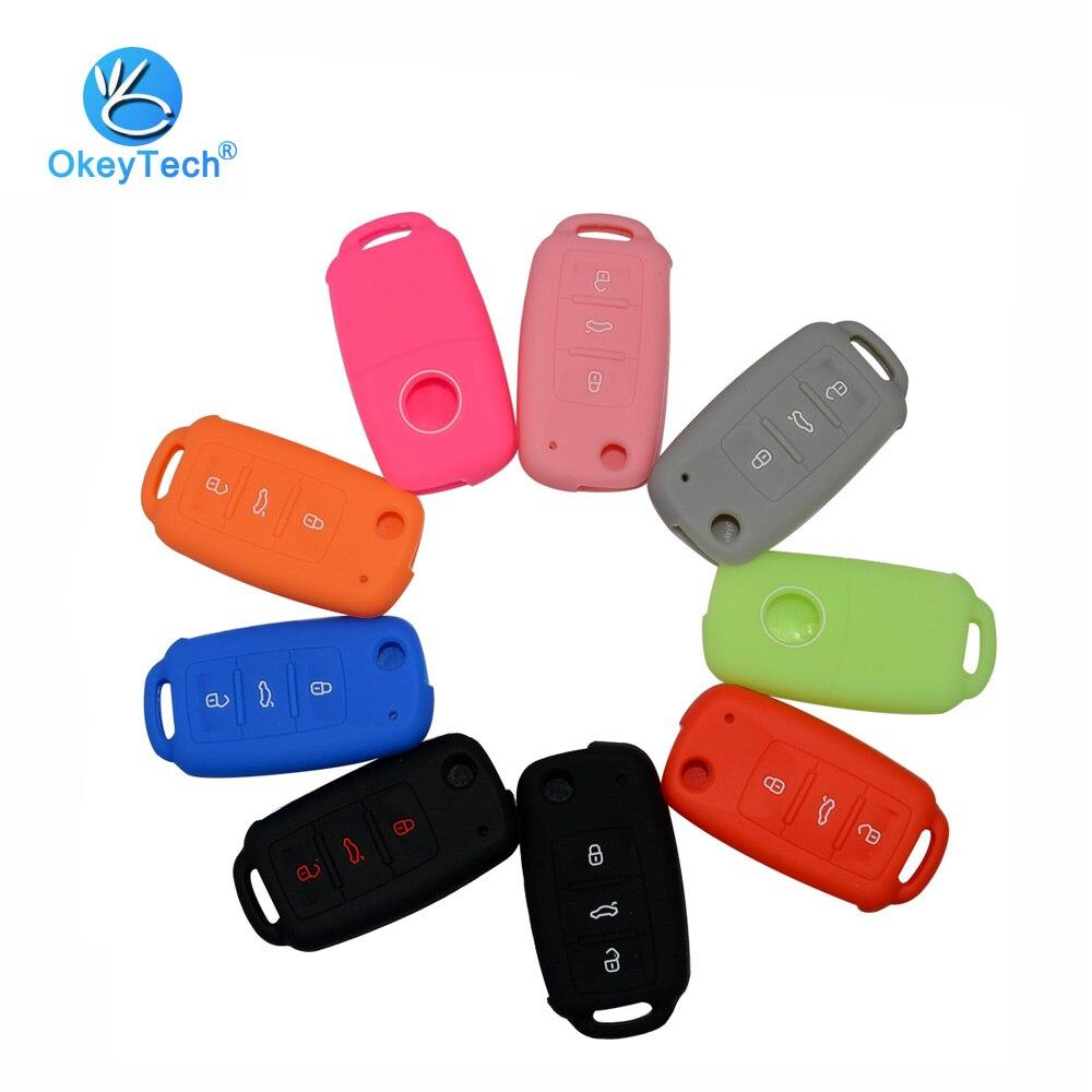 OkeyTech 3 Button Flip Fold Remote Car Key Cover Case Fob Repair Silicone for Volkswagen VW Bora Passat Sagitar Golf Polo Lavida