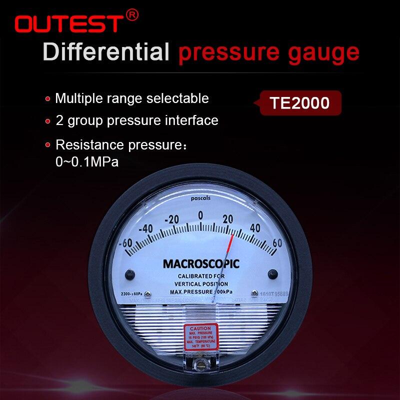 OUTEST Pressure Gauge Meter High Precision Air Differential Vacuum Manometer Micro Pressure Gauge Measuring Range 0