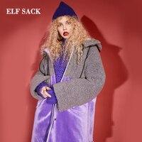 ELF SACK зимняя новая стильная женская куртка модная Лоскутная Повседневная широкая талия полная женская куртка уличная Femme Толстая куртка