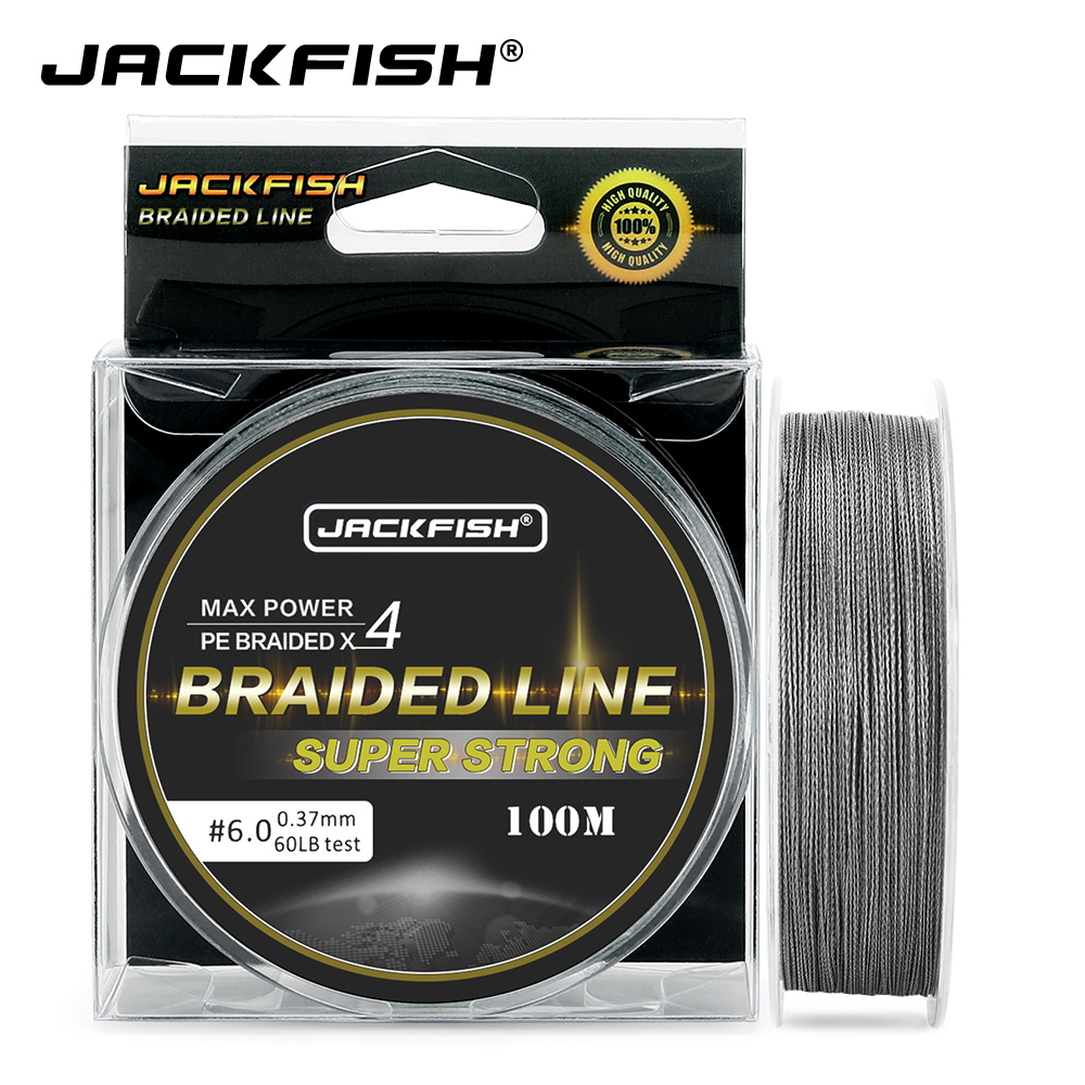 JACKFISH 4 Strand PE Braided Fishing Line 100m 10-80LB Super Strong Multifilament Fishing Line For Carp Fishing Tackle pesca