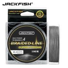 Джекфиш 4 нити PE плетеная рыболовная леска из ПЭ 100 м 10-80LB супер сильный леска для ловли карпа рыболовные снасти pesca