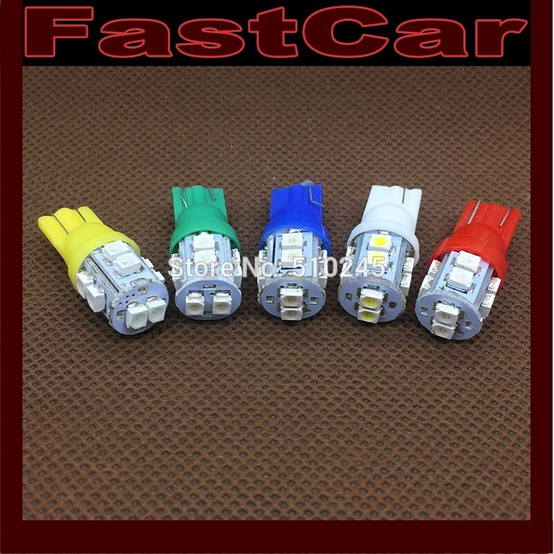 500X w5w 194 T10 10 led SMD 3528 t10 10smd Wedge Car Auto LED Light Bulb Lamp White blue yellow green red free shipping