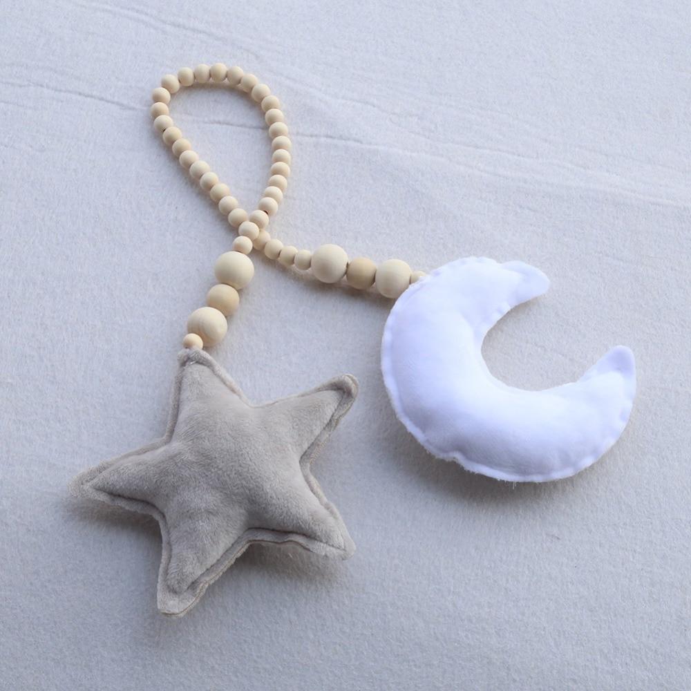 Nordic Star Moon Pendant Wooden Beads Decro Hanging Ornament Nursery Kids Room