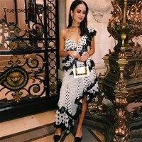 Truevoker Summer Designer Party Dress Women's Sexy One Shoulder Polka Dot Printed Black Lace Ruffle Irregular Boutique Dress