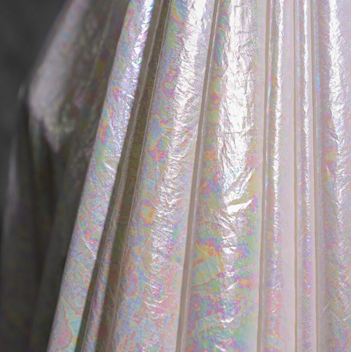 Colorful cloth pearl paper laser illusion fabric dress patch wedding gauze diy textiles tweed fabric telas por metro tissu A475 in Fabric from Home Garden