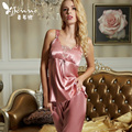 Summer 2017 Sleeveless Female Pajamas Silk Imitation Women Nightwear Pyjama Lace V Neck Pyjamas Femme Plus Big Size 3XL 1598