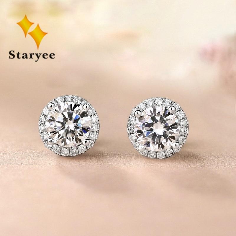 Genuine Moissanite Halo Stud Earrings For Women 0.5CT VS H Charles Colvard Gemstone 18K Pure White Gold Fine Jewelry Au750 stamp
