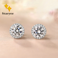 Genuine Moissanite Halo Stud Earrings For Women 0.5CT VS H Charles Colvard Gemstone 18K Pure White Gold Fine Jewelry Au750 stamp