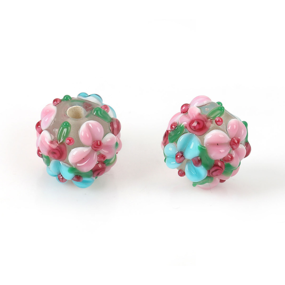 DoreenBeads Lampwork Glass Encased Floral Beads Round Pink Flower Leaves Colorful About