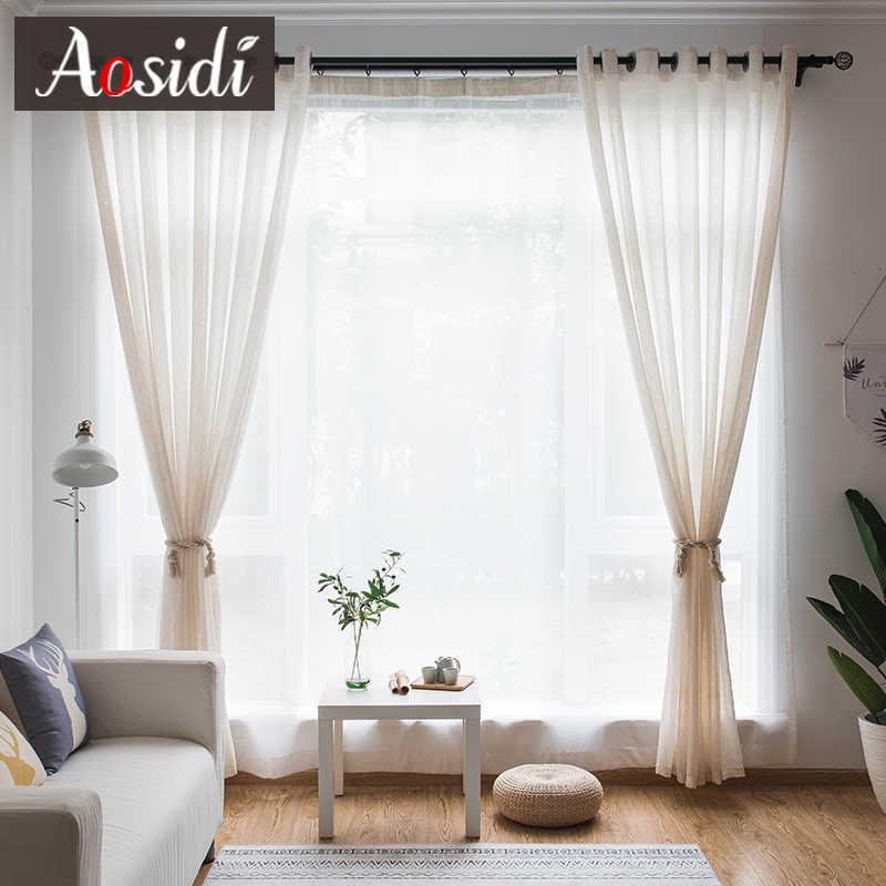 Бежевые льняные тюлевые занавески для гостиной, современные льняные отвесные занавески для спальни, сплошная вуаль, занавески для детей, оконные занавески