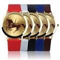 Rodada Dial Ouro Padrão Cavalo Homens Meninos Slica Gel Banda Quartzo Relógio de Pulso New Hot Selling