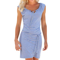 Casual Striped Chiffon V-neck Sleeveless Dress
