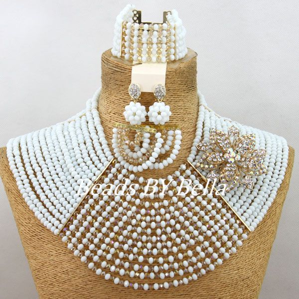 Graceful Nigerian Wedding African Beads Jewelry Set White Crystal Beads Necklace Women Costume Jewelry Set Free Shipping ABY065