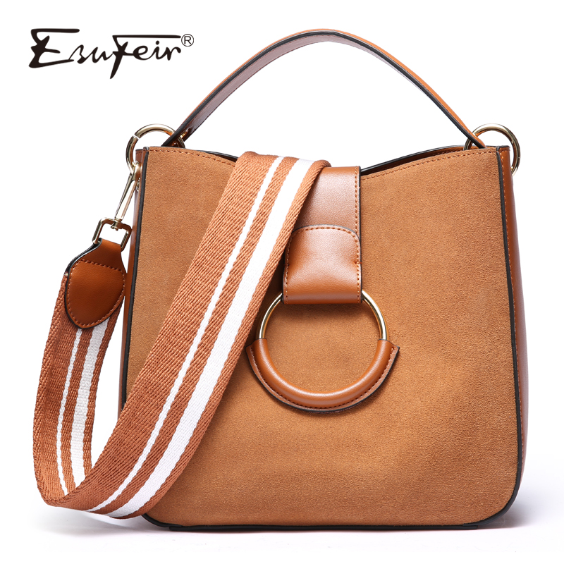 ESUFEIR Brand Scrub Genuine leather Woman Handbag Fashion Frosted Cow Leather Shoulder Bag Vintage Messenger Bag Casual Tote Bag 2018 new style genuine leather woman handbag vintage metal ring cloe shoulder bag ladies casual tote fashion chain crossbody bag
