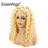 Eseewigs Brazilian Deep Wave 613 Blonde Lace Front Wig Human Hair 13x6 Frontal Wig Remy Hair 150 Density 26inch Natural Hairline